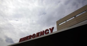 An emergency room sign is seen at Methodist Hospital in Peoria, Illinois