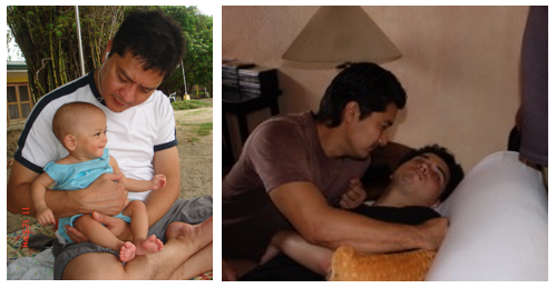 Super Dads: Enic (with Martine) and Albert (with Alfonso)