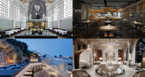 Clockwise from top left: The Jane, Antwerp; Raw, Taipei; Alain Ducasse au Plaza Athénée, Paris; Asea Lounge, Santorini